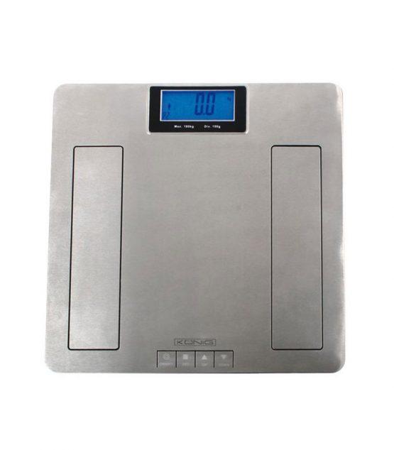 Osobná váha z nehrdzavejúcej ocele s meranám tuku v tele pomocou metódy BIA.