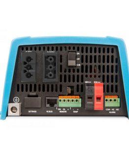 Menič napätia z 12V na 230V s funkciou záložného zdroja. Pohľad na zadný panel.