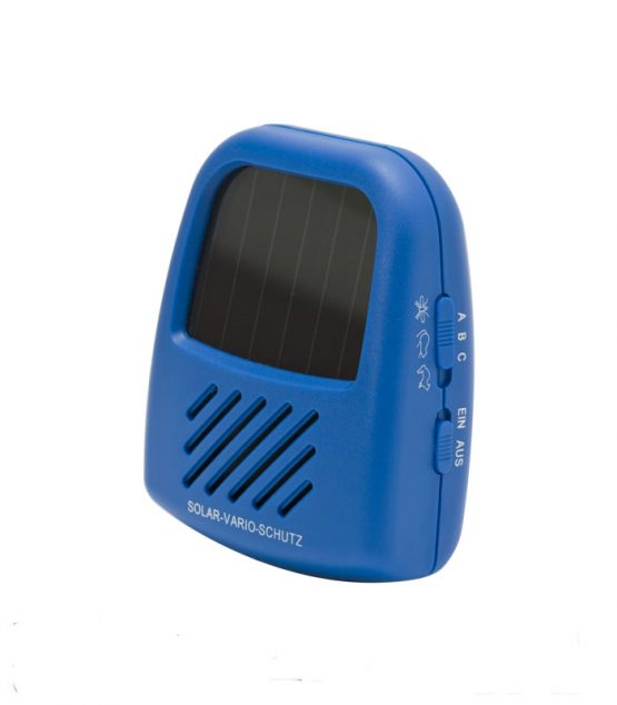 Solárny odpudzovač škodcov s meniteľnou frekvenciou podľ toho na akých škodcov ho chceme použiť.