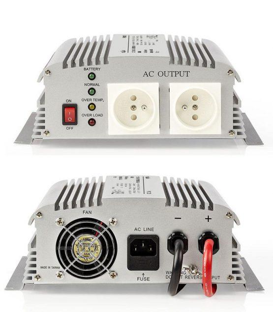 Menič z 12V na 230V s modifikovaným sínusom s funkciou záložného zdroja (UPS).