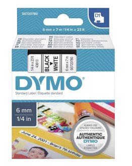 Kazeta DYMO D1 šírka 6mm tlač čierna na bielej.