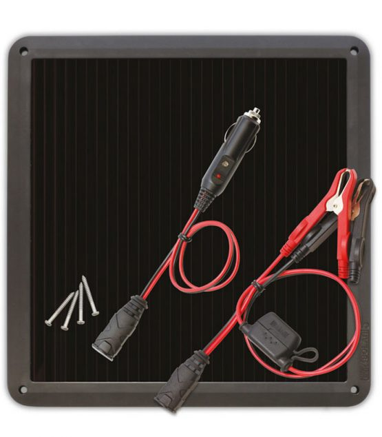 Dobíjačka akumulátorov pre díeselové motory s výkonom 5Wp. S perfektnou sadou prívodných káblov od americkej firmy NOCO.